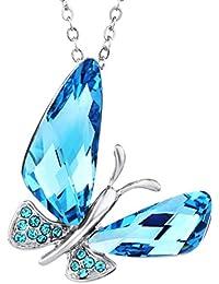NEOGLORY Collar de Mariposa con Cristales SWAROVSKI AZUL Joya Original Regalo Mujer Chica
