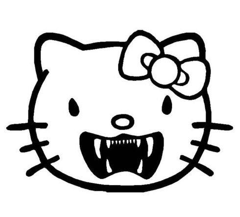 2stk Hello Kitty Vampir Dracula Monster Aufkleber Sticker Decal 12cm Logo Die Cut Windschutzscheibe Heckscheibe Rockstar