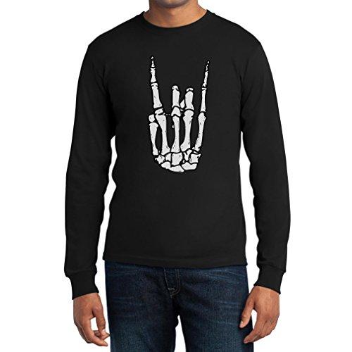 Coole Rock n Roll Skelett Hand Halloween Langarm T-Shirt Medium Schwarz (Rock N Roll Kostüm Ideen Für Männer)