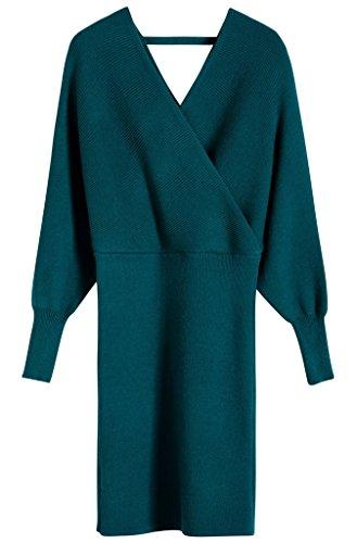 Vogueearth Donna's Lungo Manica V-neck Slim-Fit Sexy Knit Maglieria Sweater Vestito Pullover Verde