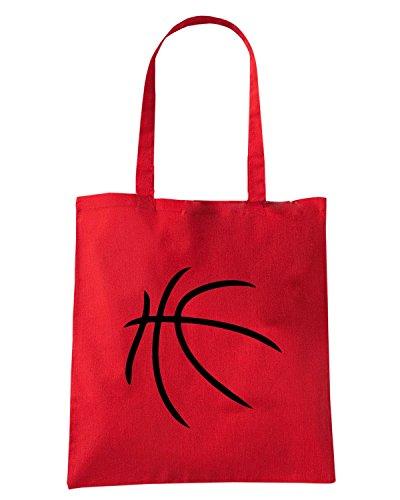 T-Shirtshock - Borsa Shopping SP0023 Basketball Ball Maglietta Rosso