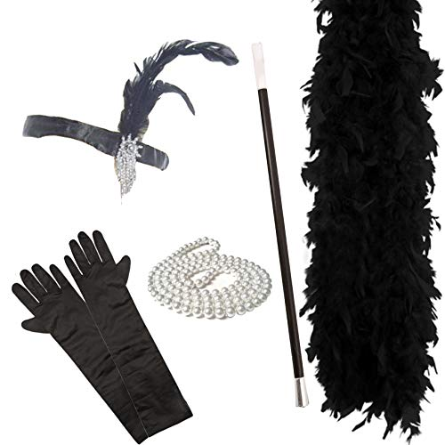 Kostüm London Burlesque - FLAPPER 5-teiliges Set Damen Charleston-Abendkleid 1920 (SCHWARZ)
