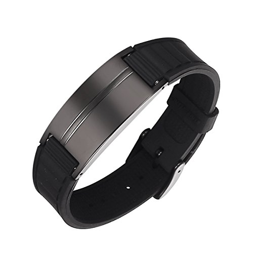 Moocare Unisex-Erwachsene Box alle schwarzen magnetischen Edelstahl Silikon Sport Armreifen mit Geschenk