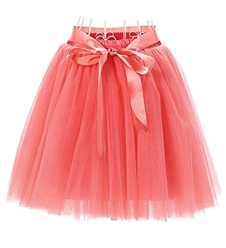 hten Knielang Tüllrock Tutu Tüll Kleid Rock Reifrock Abendrock Wassermelone (Halloween Kostüme Für Mädchen Im Alter Von 9 10 Jahren)