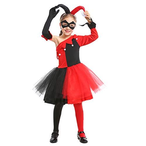 �dchen Clown Harley Cosplay Halloween Rot Schwarz Tutu Kleid (134/140 (8-9 Jahre)) ()