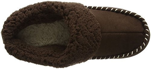 Dearfoams - Microsuede Clog With Whipstitch Tab And Memory Foam, Pantofole Donna Marrone (Espresso 00205)