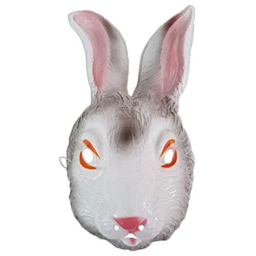 Hasenmaske Hasen Maske weiß Hase Maske Kaninchen Tiermaske Kostüm Zubehör Fasching Bunny