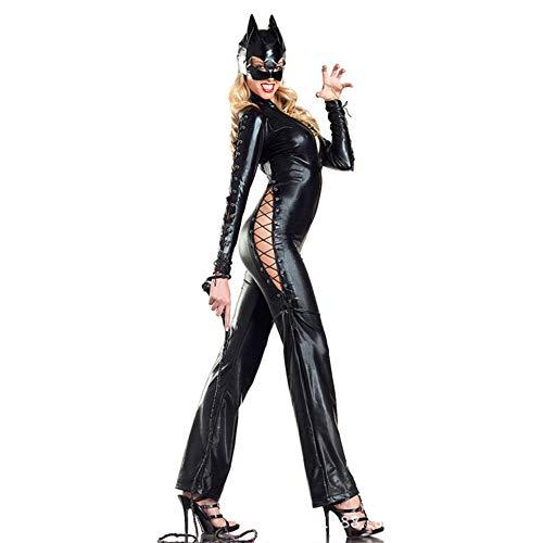 HJG Catwoman Kostüm für Damen, schwarzer Overall Halloween-Kostüme mit Horn-Stirnband oder Maske,B (Schwarze Catwoman Kostüm)