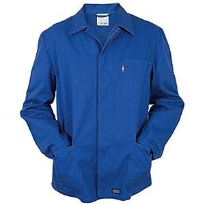 Chaqueta manga larga de trabajo – 100% Algodón – 3 bolsillos – para industria, mecánico, uniforme, almacén, construcción – Hombre (Unisex) (L, Azul)