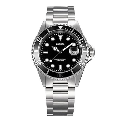 Phoibos hombre px002 C 300 M Buceo reloj Swiss Quartz Negro reloj deportivo