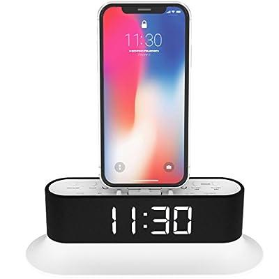 MoreAudio Azatom Chronos Lightning Dock Speaker for iPhone X, 8, 8 plus, 7plus, 7, 6s, 6, 5s, 5, 5c, SE, iPod Touch Nano - FM Radio Dual Alarm Clock Acoustics - Docking station (White) from Azatom®