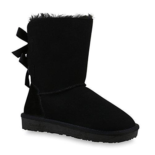 Warm Gefütterte Damen Stiefel Leder Boots Winter Schlupfstiefel Schwarz