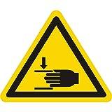 Warnzeichen W024 - Warnung Handverletzungen - Seitenlänge 100 mm - 100 Warnschilder aus Vinyl Folie, gelb, permanent haftend