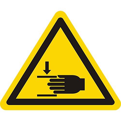 Warnzeichen W024 - Warnung Handverletzungen - Seitenlänge 12,5 mm - 30 Warnschilder aus Vinyl Folie, gelb, permanent haftend
