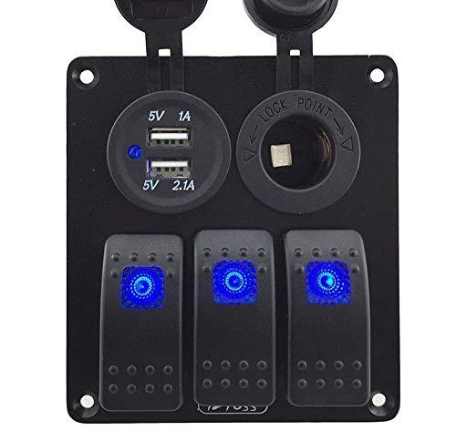 Greenwayyd 3 Gang Wippschalter Schalttafel mit Steckdose 3.1A Dual USB 12V 24V für Boot Fahrzeug RV Motorrad (Blaue Indikator) -