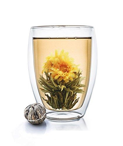 Creano isotherme double paroi XXL 400 ml Verre haut avec une fleur thé, verre à café/thé en verre résistant à la chaleur extra large – Un Cadeau