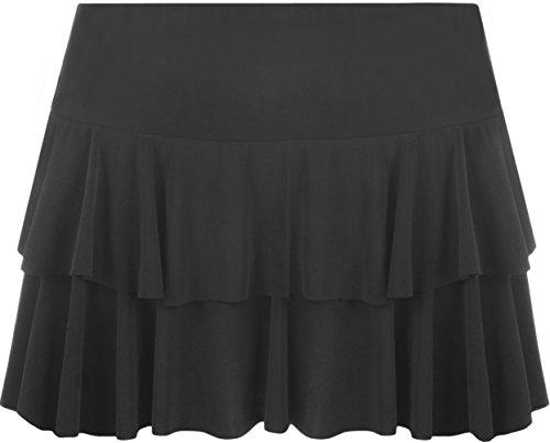 WearAll - Neu Damen Rara Mini Rock Kurz Skirt - 8 Farben - Größe 36-42 Schwarz