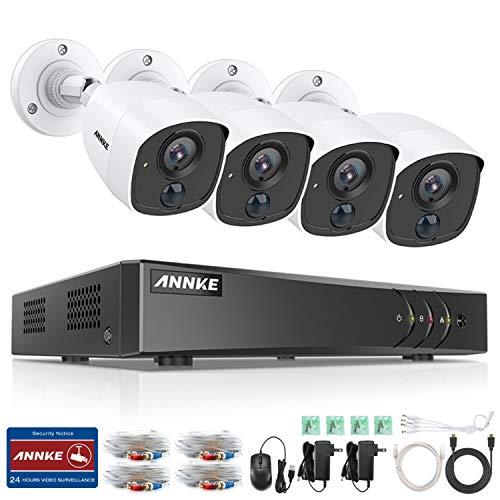 ANNKE 1080P Überwachungskamera System Set 4CH H.265+ 3MP DVR mit 4 x 1080P Metall Überwachungskamera Set,PIR Bewegungsmelder,Weißlichtalarm,E-Mail Benachrichtigung mit Schnappschüssen, Fernzugriff Dvr-kamera-system