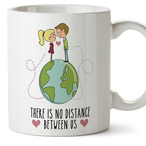 Taza de café regalo para la pareja de enamorados - regalo original de novios y novias perfecto para San Valentín - There is no distance between us - 350 ml - cerámica - desayuno