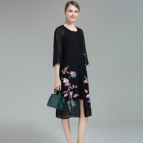 JIALELE Frauen aus niedlichen Shift Midi-Kleid, bestickt Rundhals, Schwarz, XXXL (Schwarze Shift-kleider Für Frauen)