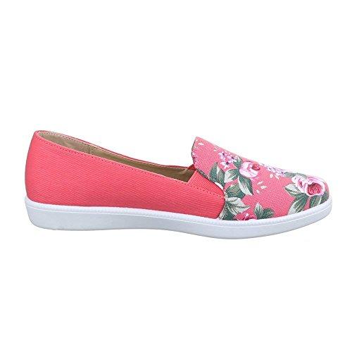 Damen Schuhe, K811, HALBSCHUHE SLIPPER GEBLÜMTE Coral Rot