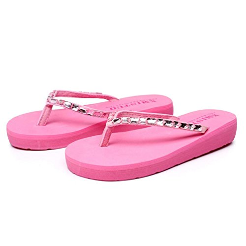 SHANGXIAN muffin antidérapage bas de femmes strass Wedge Sandal pink
