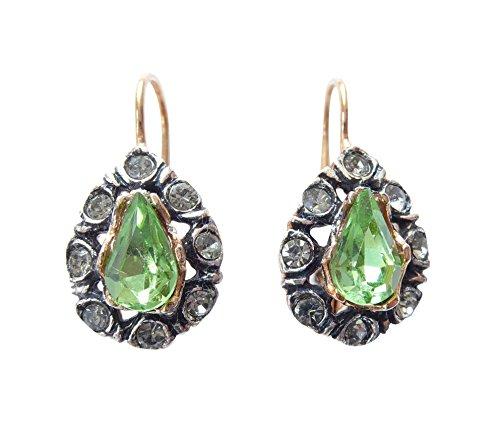 Frisky, motivi ornamentali orecchini (rotvergoldet) con una pietra verde e strass trasparenti