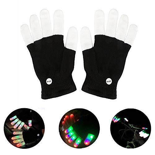 AIDUE LED Handschuhe, blinkende Finger leuchtende Handschuhe mit 3 Lichtfarbe und 6 Modus für Festivals / Weihnachten / Halloween / Sport / Party / Clubs, Spielzeug für Kinder Erwachsene