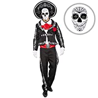 Spooktacular Creations Mens Day of The Dead Mariachi Senor Adult Costume Set Halloween Dress Up Party, Dia de Los Muertos (XL)