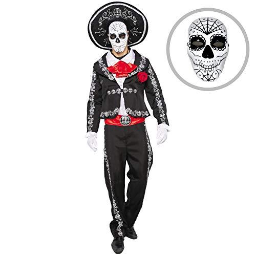 Tag Kostüm Men's Toten Der - Spooktacular Creations Herren Tag der Toten Kostüm Mariachi Senor Kostüm Set Halloween Dress Up Party, Dia de Los Muertos (Medium)