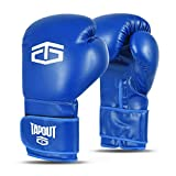 Tapout Guantes Boxeo Hombre Dura-Leather PU Training Sparring Classic (Azul, 12 oz)