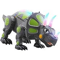 Ydq Juguete De Dinosaurio con Control Remoto, RC Triceratops Figura De Juguete Dinosaurio Jurásico Mundo Dinosaurio Simulación Rugido Sonido Real Juguete Deportivo Adulto Modelo Niños