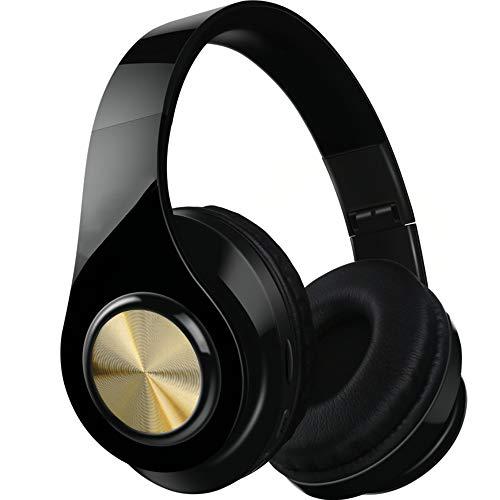 MARXIAO Headset Kabelloses Bluetooth-Headset 4.1, tragbarer Faltbarer FM-Subwoofer Intelligente Kopfhörer mit Geräuschunterdrückung, geeignet für Sportreisen im Freien,Gold