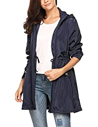 Meaneor Chaqueta Impermeable Mujer Con Capucha Bolsillos Rompeviento S-XL