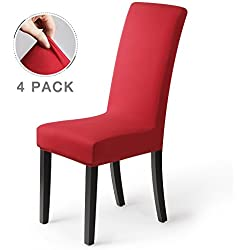 coprisedie con schienale 4pezzi Elasticizzato Copertura della sedia bi-elastico per una misura universale, Coppia spandex Coprisedia molto facile da pulire e di lunga durata(Confezione da4,Rosso)