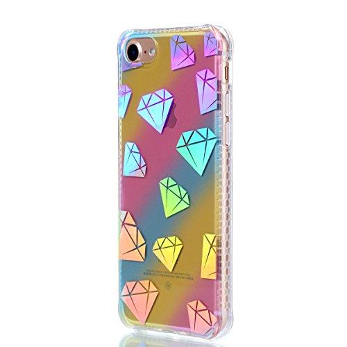 Apple iPhone 7 4.7 Coque, Voguecase TPU avec Absorption de Choc, Etui Silicone Souple Transparent, Légère / Ajustement Parfait Coque Shell Housse Cover pour Apple iPhone 7 4.7 (Placage colorés-petit D Placage colorés-Diamant 03