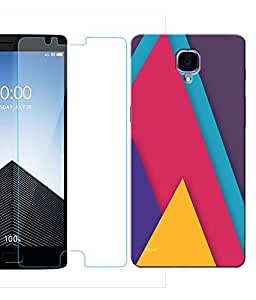 Indiashopers Combo of Colourfull Abstract HD UV Printed Mobile Back Cover and Tempered Glass For OnePlus 3