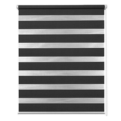 MCTECH® Doppelrollo Duo Rollo Klemmfix ohne Bohren Fenster-Rollo Springrollos mit Klemmträger (80 x 150 cm, schwarz)