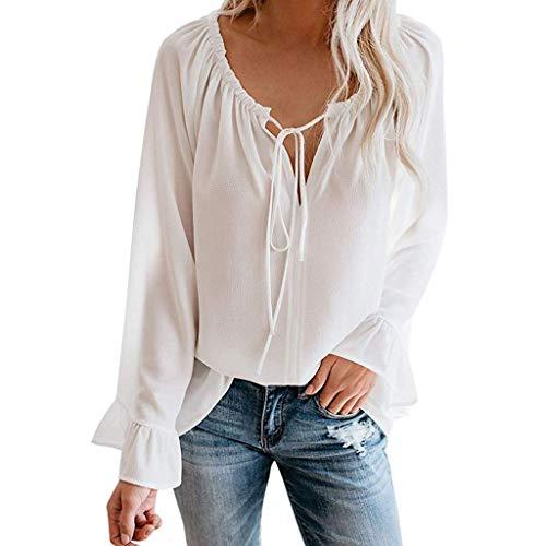 Obestseller Oberteile Frauen Bluse Damen elegant Langarmshirts sexy Oberteil Damen Damen Sexy Schulterfrei Rüschen Ärmel Bogen Einfarbig T-Shirt Top