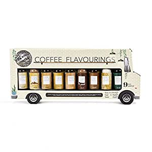 Food Truck Foodie Finds Coffee Flavourings Sampler Set | 9 Delicious Coffee Flavouring Samplers Including Caramel Syrup, Vanilla Syrup, Cinnamon Sugar, Cocoa Powder and More