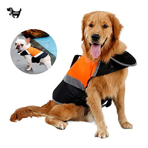 SAUWERAY Hundesicherheits-Adjustable-Badeanzug, Reflektierende wasserdichte Haustier Badeanzug Jacke mit Griff für Schwimmen Surf Windjacke (S-XL),Grün,L