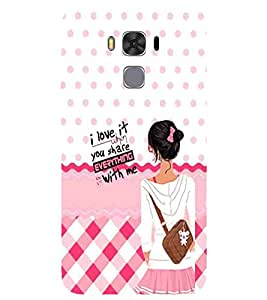 For Asus Zenfone 3 Max ZC520TL I love it when you share everything with me ( I love it when you share everything with me, good quotes, polka, cute girl ) Printed Designer Back Case Cover By CHAPLOOS
