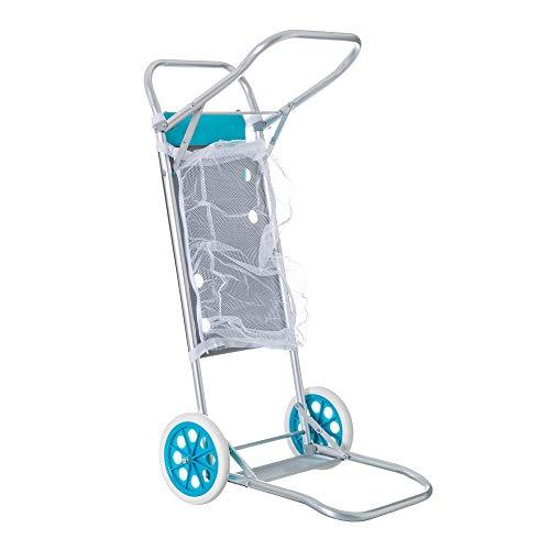 Carro portasillas Plegable Azul de Aluminio para Camping y Playa Nuevo y Mejorado - LOLAhome
