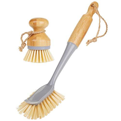 mDesign Juego de 2 cepillos de bambú para fregar platos - Cepillo redondo y cepillo con mango para lavar ollas, sartenes, vajilla y cubiertos - También aptos para limpiar verduras - gris/natural