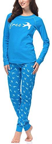 Italian Fashion IF Pyjama Femme Cleo 0223(Turquoise/Blanc, S)