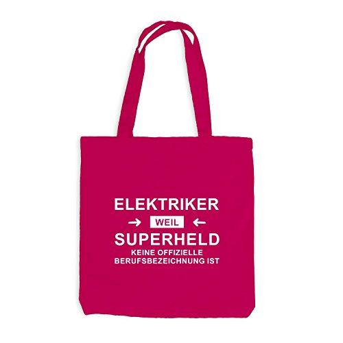Jutebeutel - Elektriker Superheld - Hero Beruf Pink
