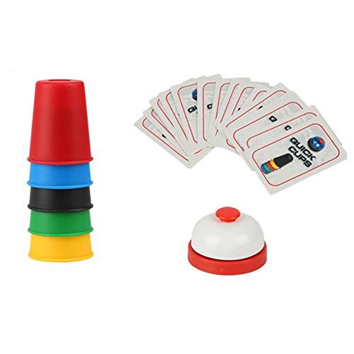 Kalaokei Kinder schnell Speed Table Ring Cards Cup Stacking p?dagogisches Spiel Interaktives Spielzeug