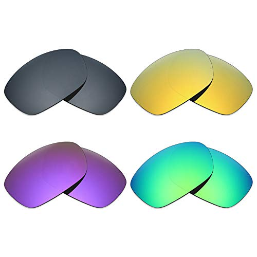 MRY 4Paar Polarisierte Ersatz Gläser für Oakley Zehn X sunglasses-black Iridium/24K Gold/Plasma violett/Smaragd Grün