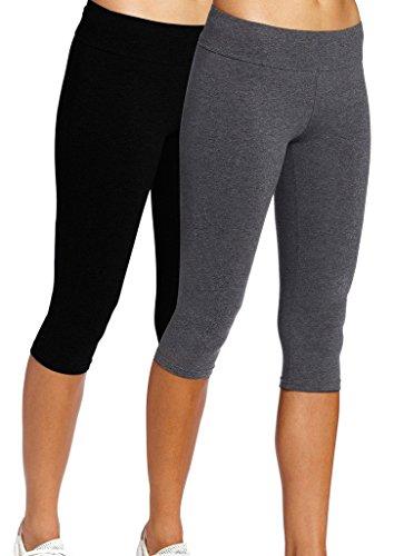iLoveSIA Jogging Damen Hose Sport Schwarz+Grau Strumpfhosen Dreiviertel Leggings Sportwear,L -