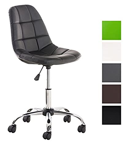 CLP Office chair EMIL, quilted seat, metal frame in chrome look, seat height 45 - 57 cm black